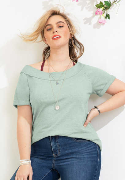 plus size solid burnwash marilyn neck short sleeve sweatshirt
