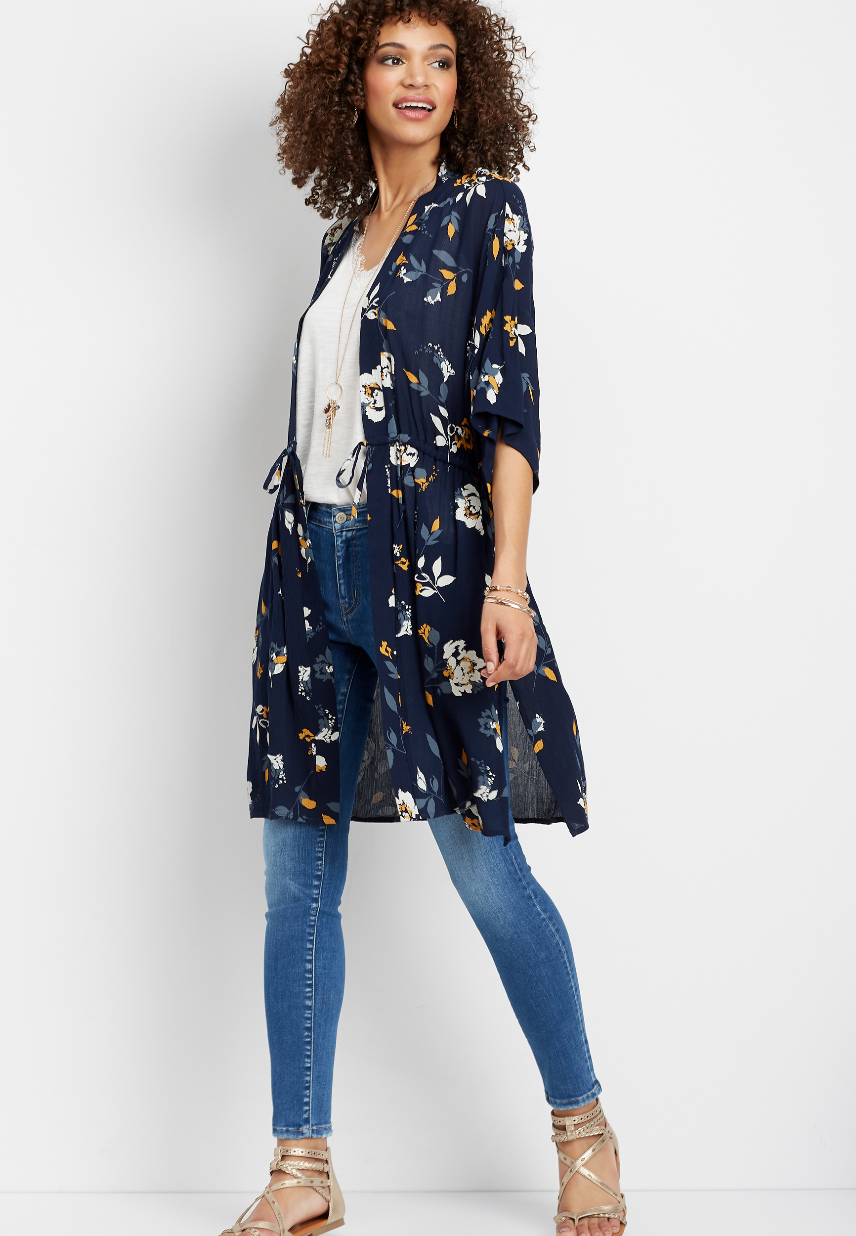 Floral Drawstring Waist Kimono by Maurices