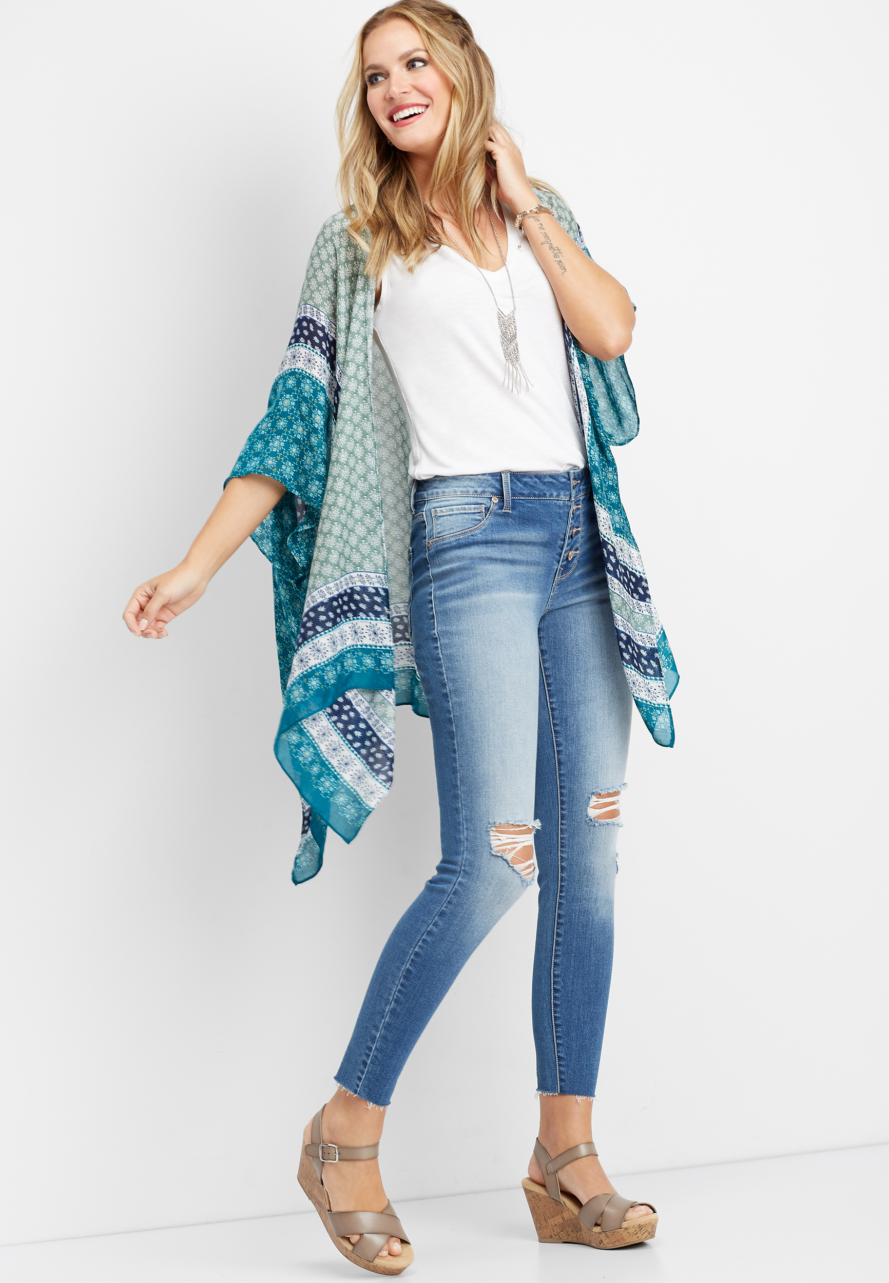 Patterned Open Front Kimono by Maurices
