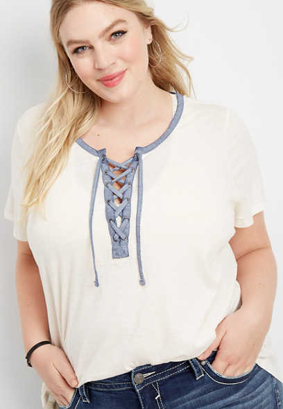 plus size 24/7 solid lace up neck tee