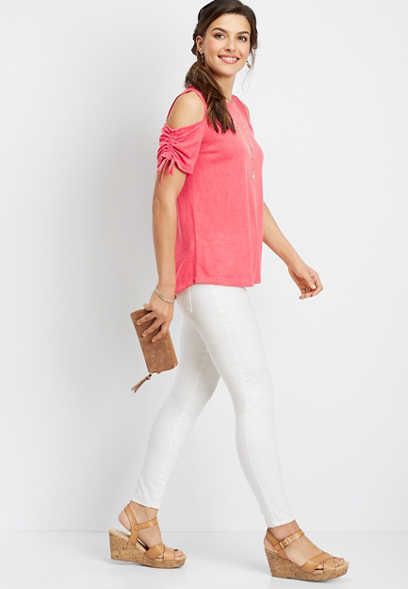 24/7 cold shoulder ruched sleeve tee