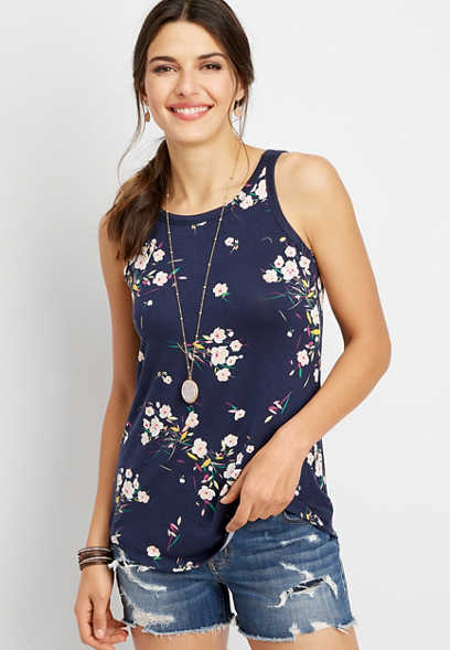 24/7 high neck floral tank