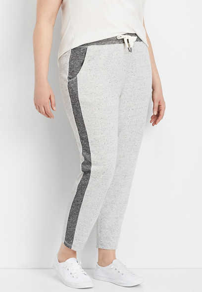 plus size gray side stripe tonal jogger