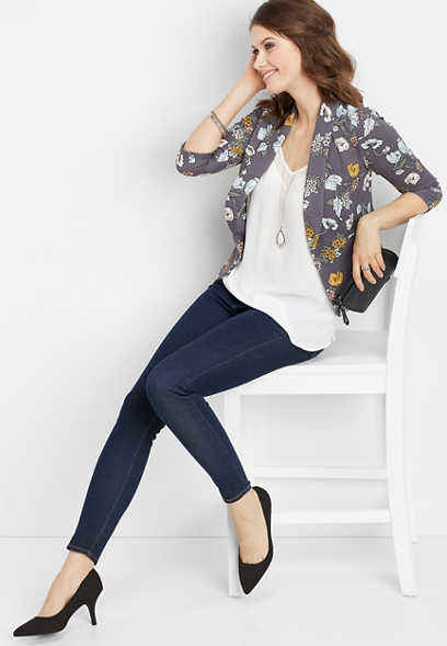 gray floral open front blazer