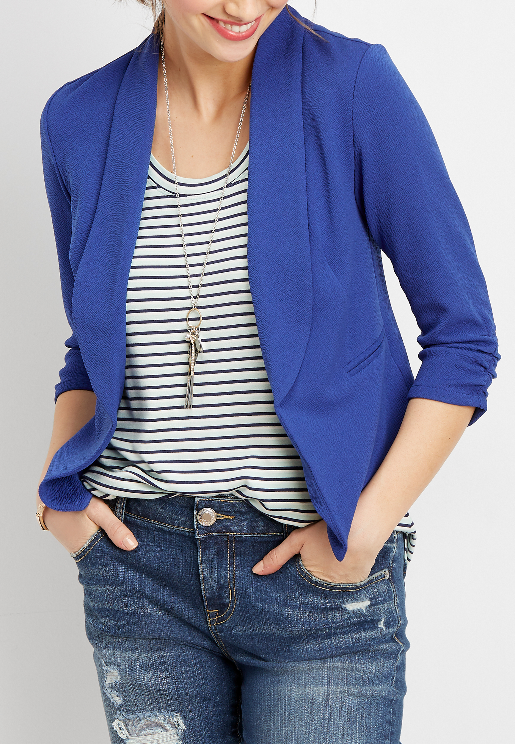 Cobalt Open Front Blazer by Maurices