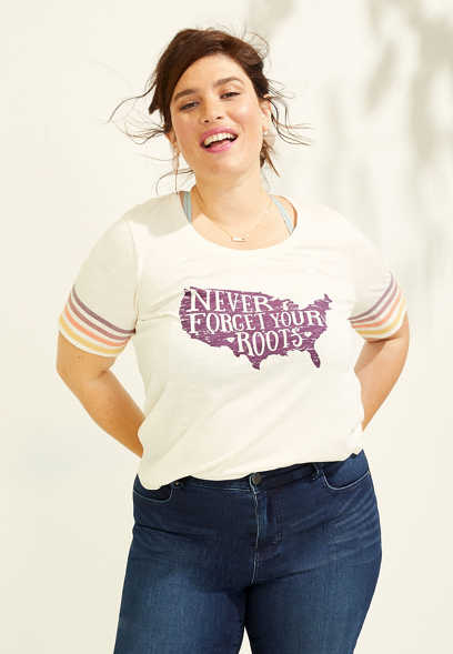 plus size never forget your roots graphic tee
