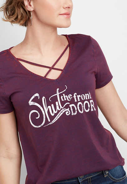 shut the front door lattice neck graphic tee