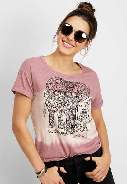 dip dye elephant graphic tee