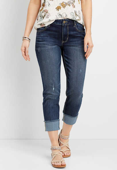 DenimFlex™ dark wash cuffed cropped boyfriend jean