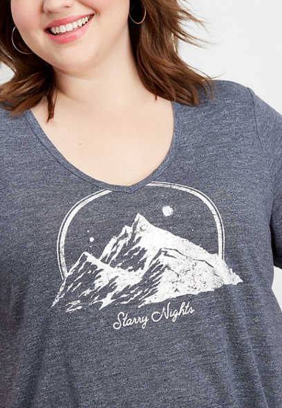plus size starry nights graphic tee