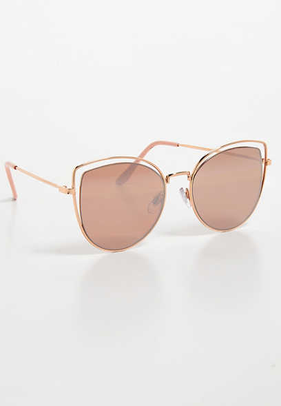 exposed wire cateye sunglasses