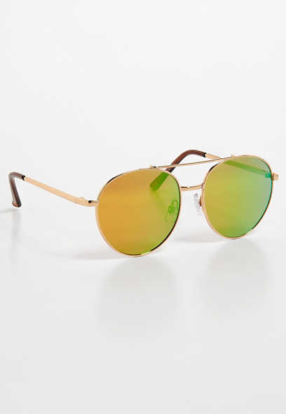 flat mirror aviator sunglasses