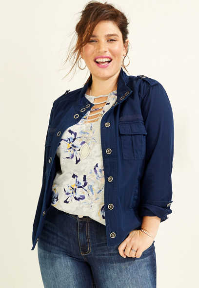 plus size snap button front jacket