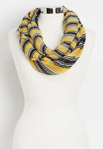 pleated stripe infinity scarf