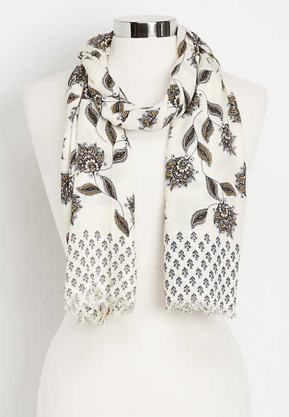 paisley twin print oblong scarf