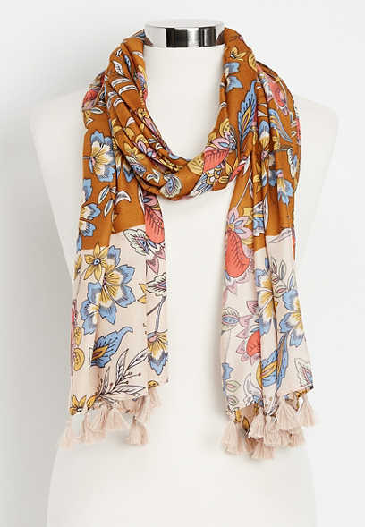 floral twin print oblong scarf