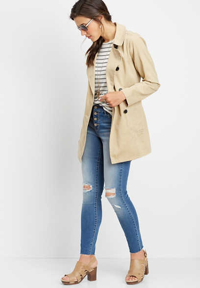 button down trench coat