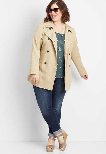 plus size button down trench coat