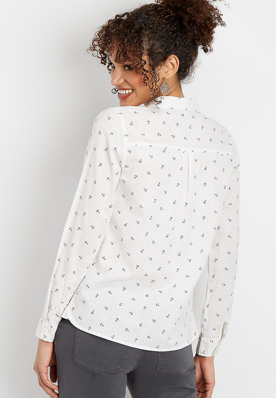 b8bb80366 anchor print button down shirt | maurices