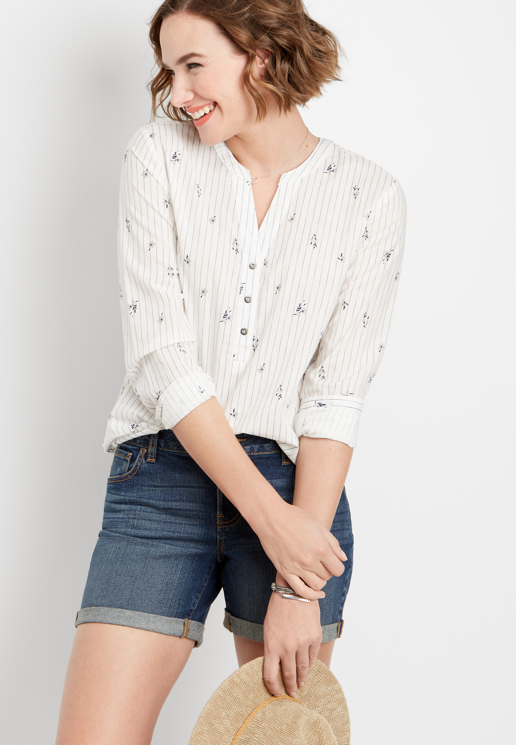 Floral Stripe Button V Neck Popover Top by Maurices