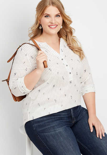 plus size floral stripe button v-neck popover top