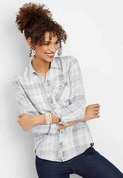 blue burnwash plaid button down shirt