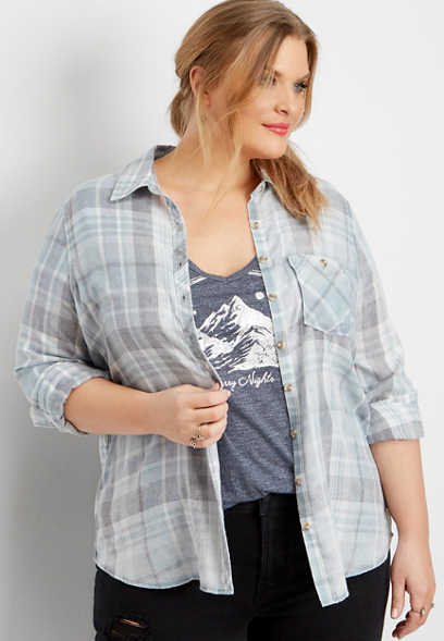 plus size blue burnwash plaid button down shirt