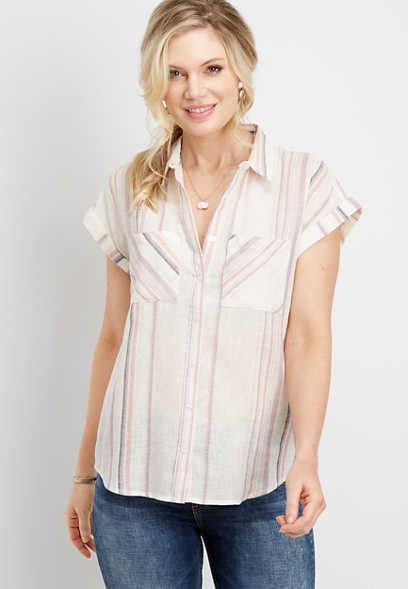 multi stripe button down shirt