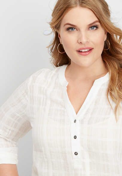 plus size solid button v-neck popover top