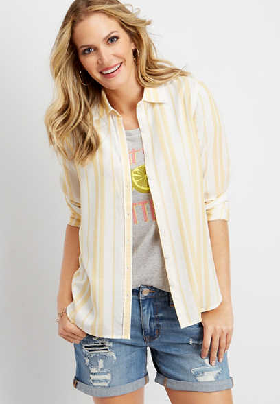 yellow stripe button down shirt