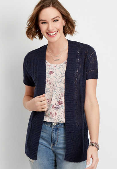 cap sleeve open stitch cardigan