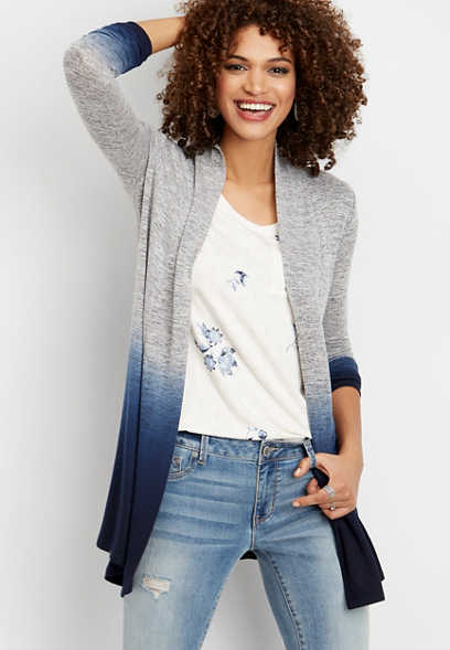blue dip dye duster cardigan