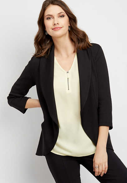 black open front pocket blazer