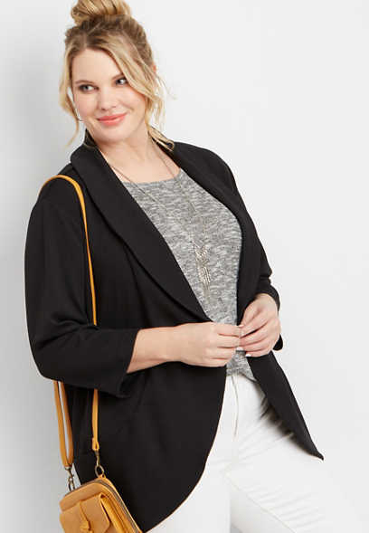 plus size black open front pocket blazer