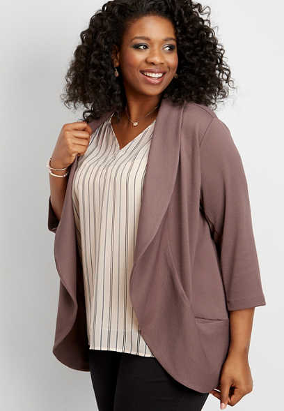 plus size open front pocket blazer
