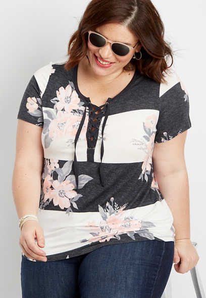 plus size 24/7 lace up floral tee