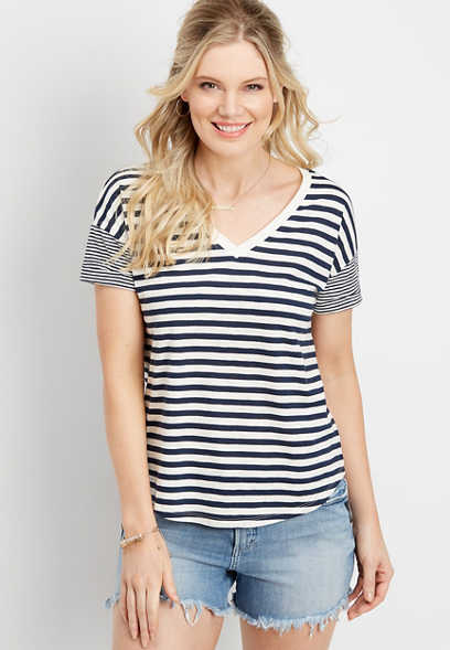 24/7 stripe drop shoulder tee