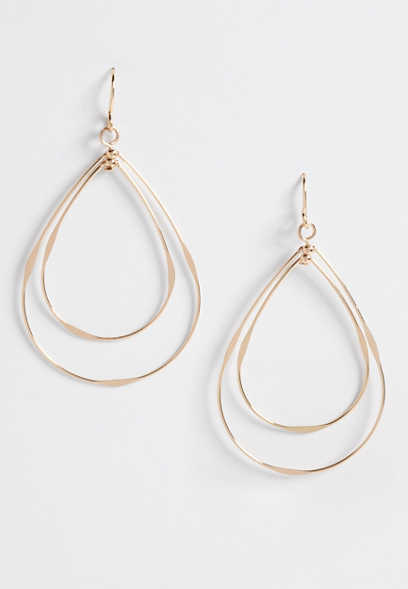 double teardrop hoop earrings