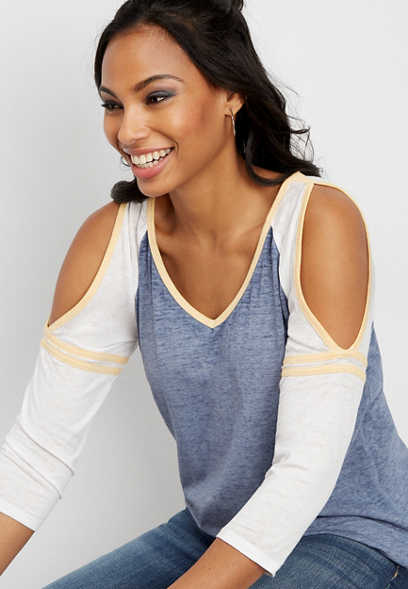 24/7 cold shoulder baseball tee