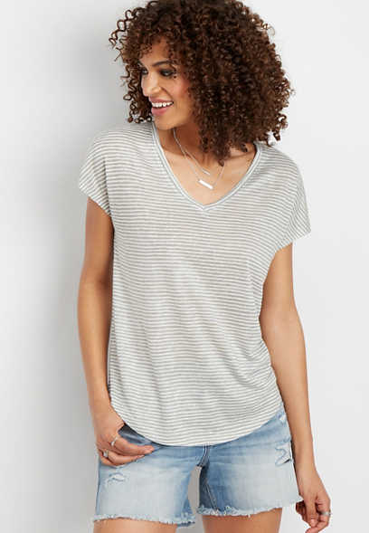 24/7 stripe v-neck slub tee