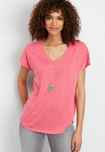 24/7 solid v-neck slub tee