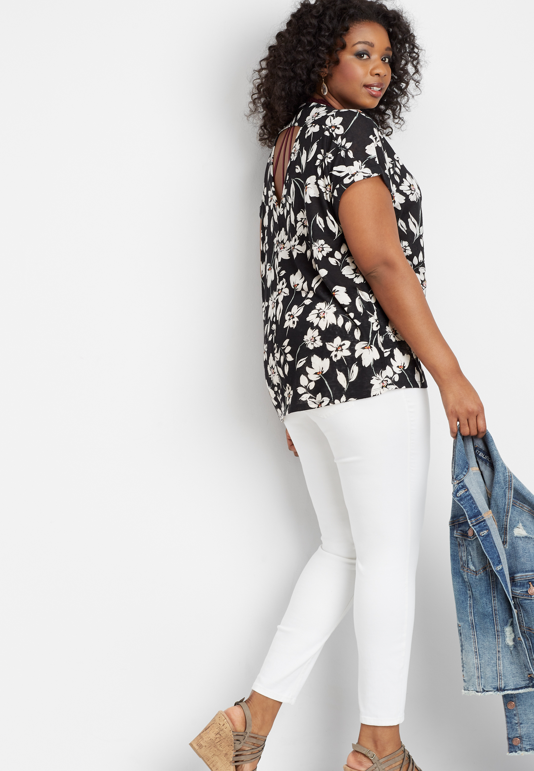 Plus Size 24/7 Floral Open Back Tee by Maurices