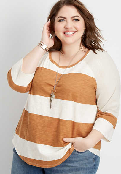 ae607209446 plus size 24 7 stripe blocked tee