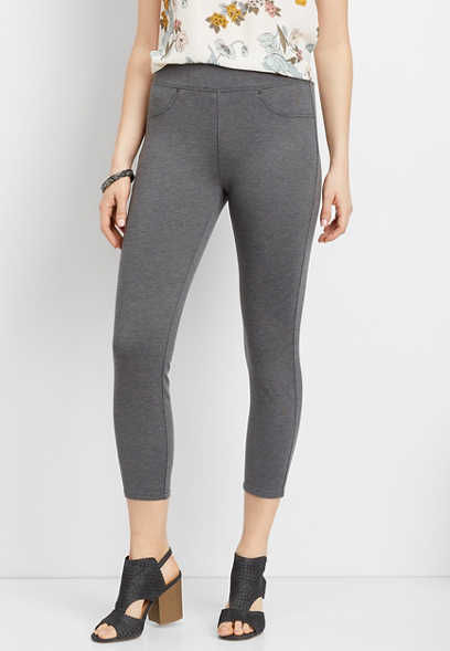 heather gray knit crop pant