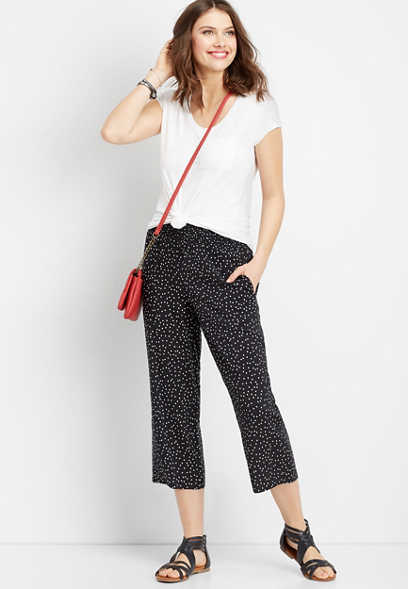 dot print wide leg cropped pant