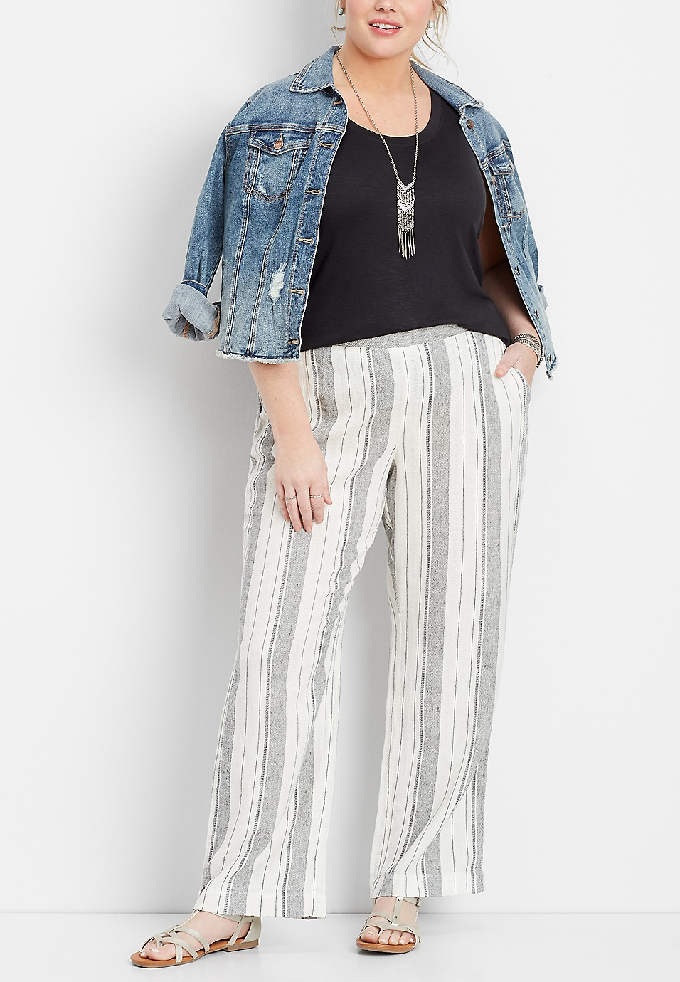 9c5af2377dbd plus size linen white stripe pull on wide leg pant | maurices