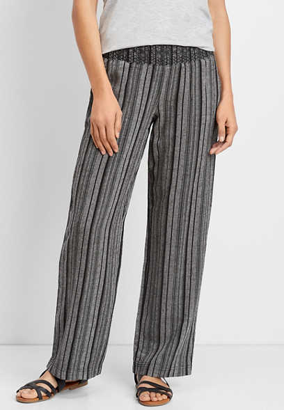 black stripe linen wide leg pant