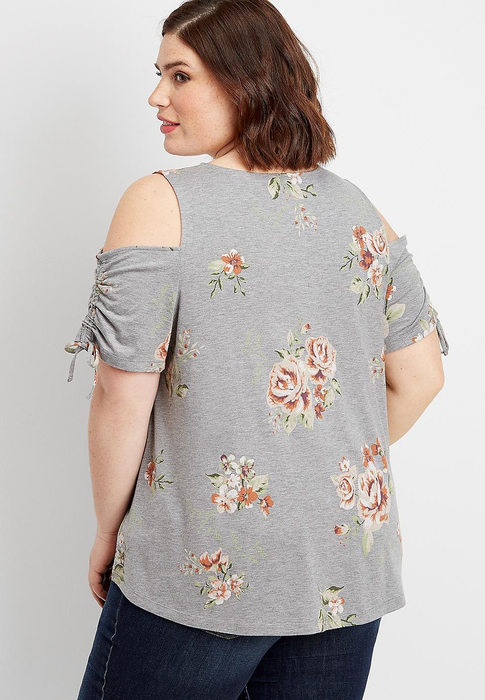 bbea36af36245a plus size 24 7 floral cold shoulder ruched sleeve tee