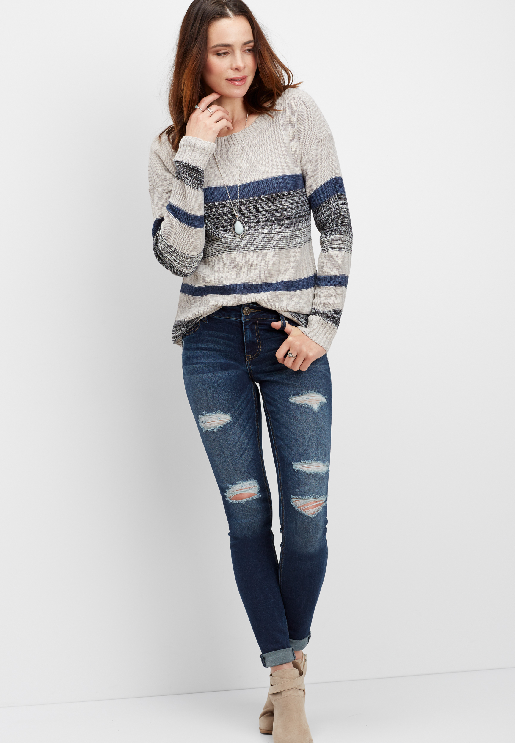 Stripe Boat Neck Pullover Sweater by Maurices
