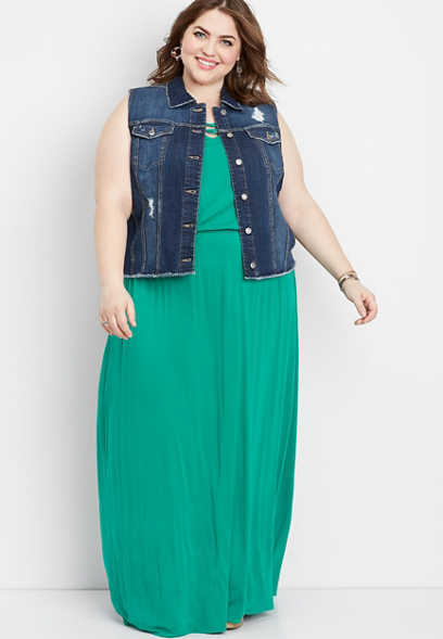 plus size dark wash fray hem vest